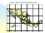 mapa 4 sitios mineros enriquecidos con hg