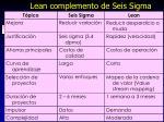 lean complemento de seis sigma