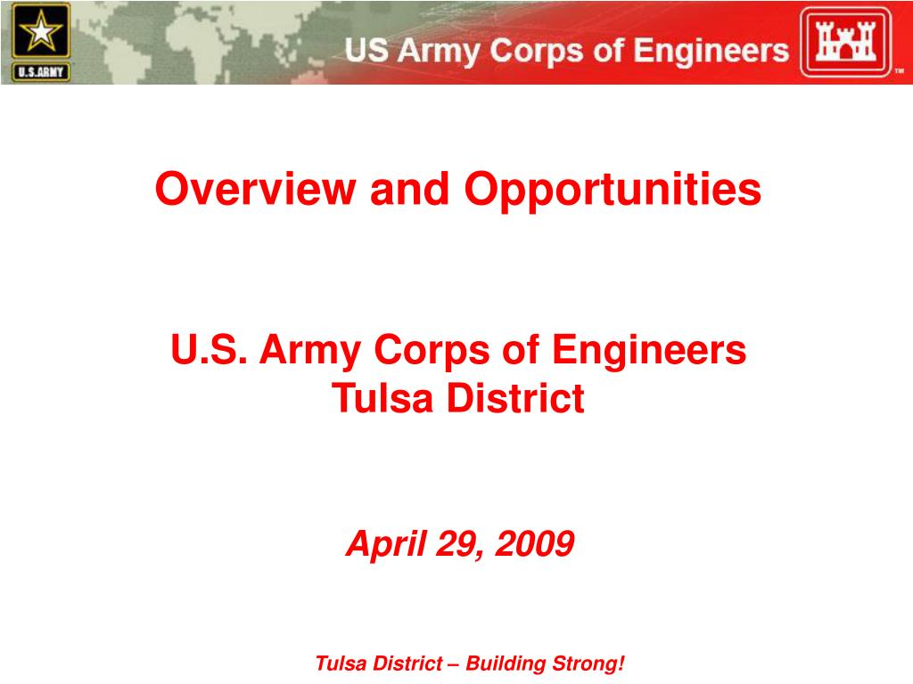 overview and opportunities u s army corps of engineers tulsa district april 29 2009 l.