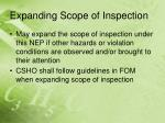 expanding scope of inspection