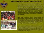 mass feeding shelter and sanitation