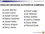 english speaking authors in compara