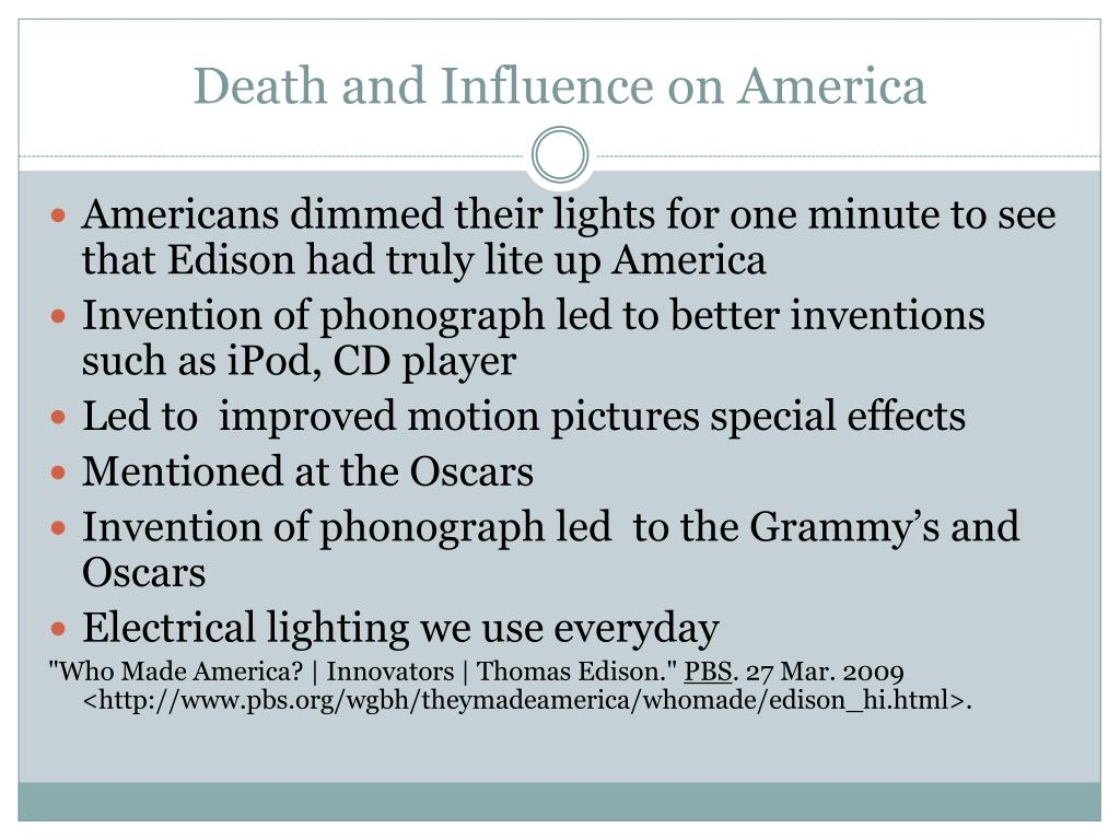 Death and Influence on America