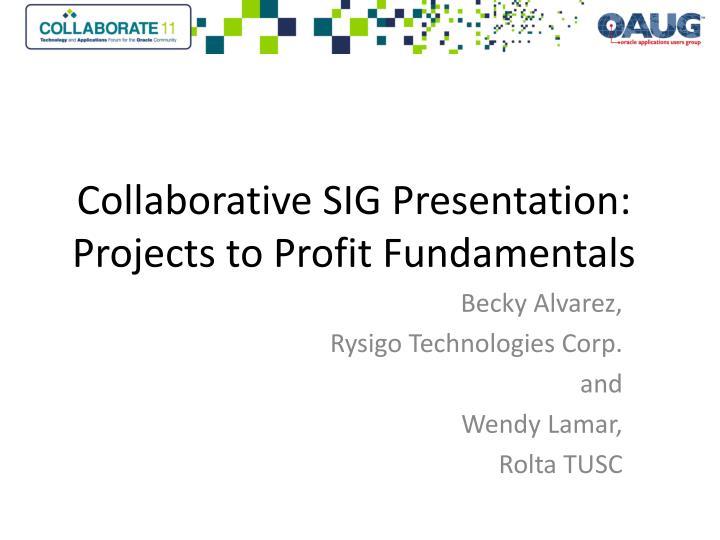 collaborative sig presentation projects to profit fundamentals n.