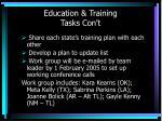 education training tasks con t