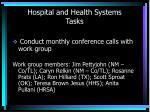 hospital and health systems tasks