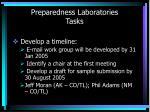 preparedness laboratories tasks