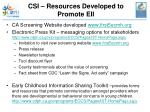 csi resources developed to promote eii