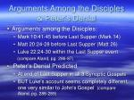 arguments among the disciples peter s denial