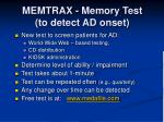 memtrax memory test to detect ad onset