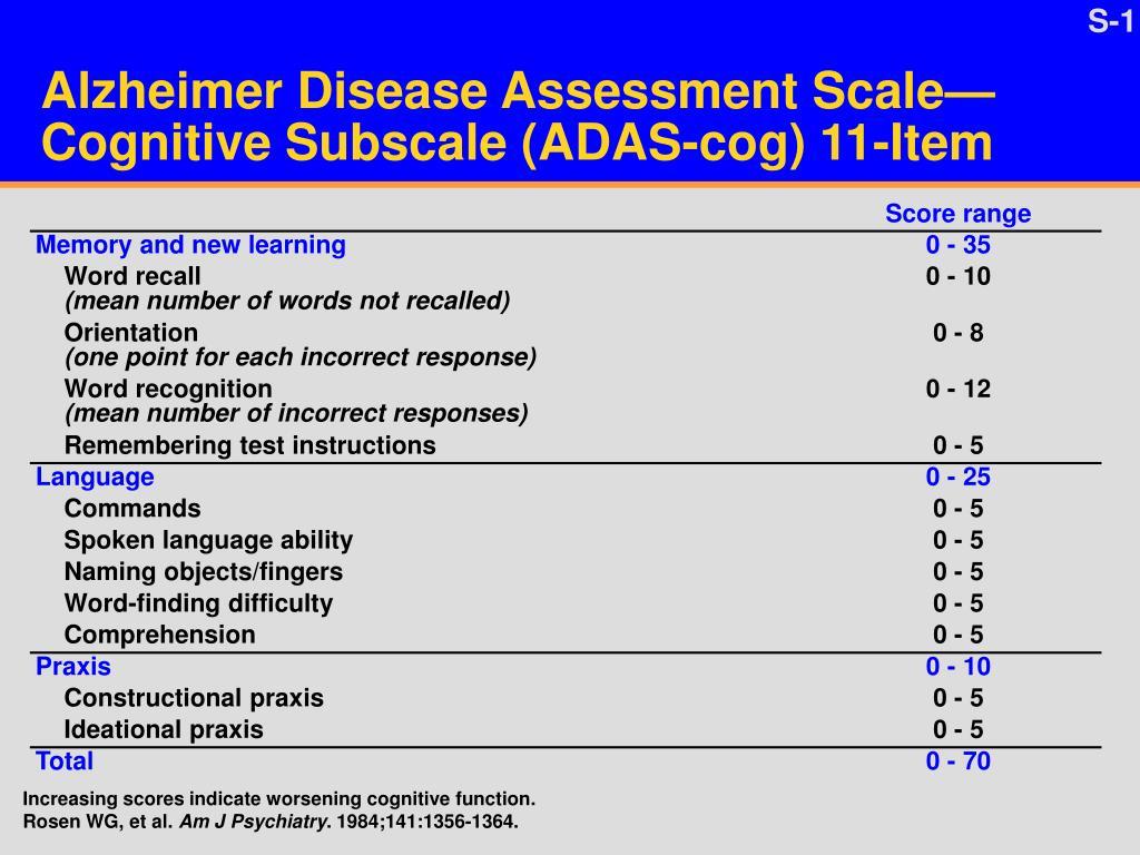 alzheimer disease assessment scale cognitive subscale adas cog 11 item l.
