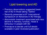 lipid lowering and ad