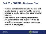 part 23 snprm business size