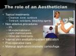 the role of an aesthetician