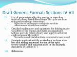 draft generic format sections iv vii