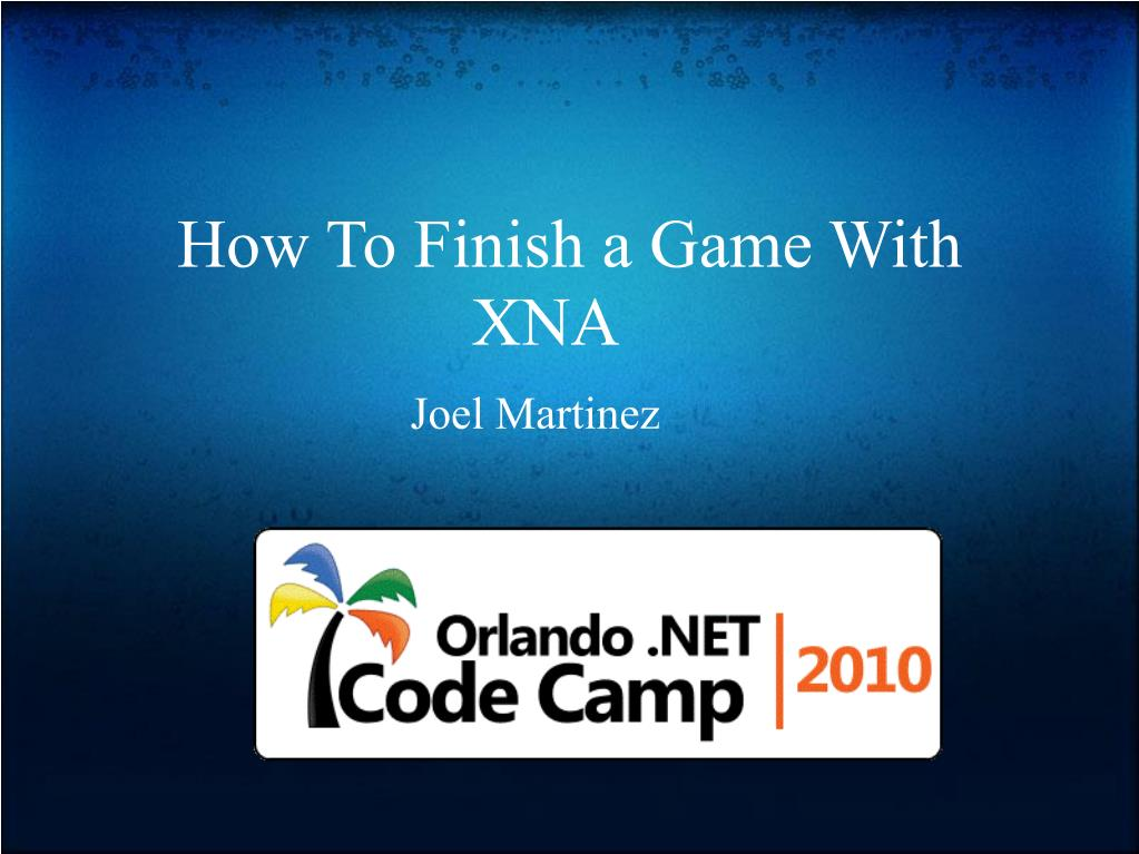 how to finish a game with xna l.