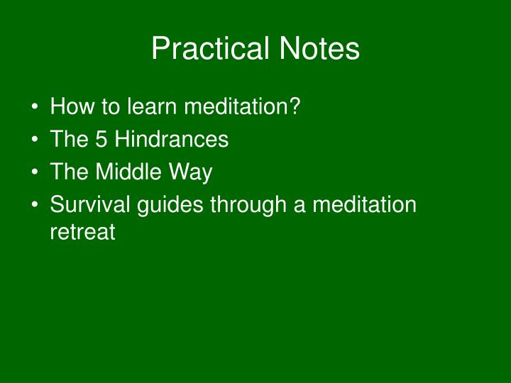 Practical Notes