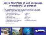 exotic new ports of call encourage international exploration