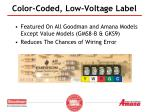 color coded low voltage label