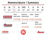 nomenclature summary