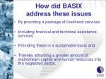 how did basix address these issues