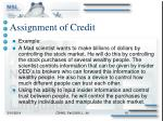 assignment of credit