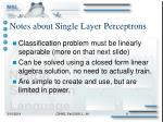 notes about single layer perceptrons