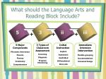 what should the language arts and reading block include