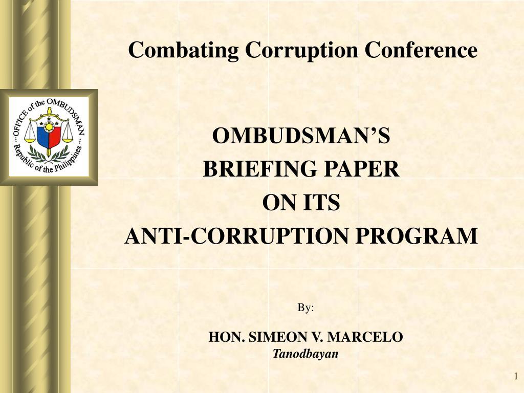 ombudsman s briefing paper on its anti corruption program l.