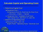 calculate capital and operating costs