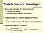 teoria da burocracia desvantagens