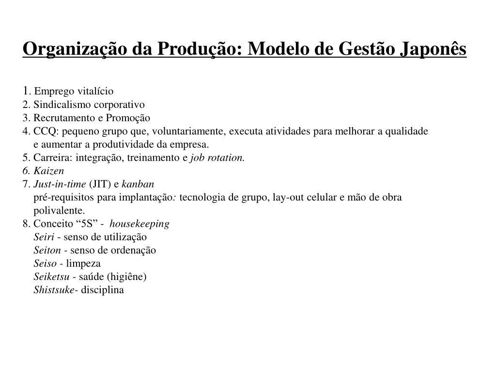 Organização da Produção: Modelo de Gestão Japonês