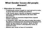 what gender issues did people discuss
