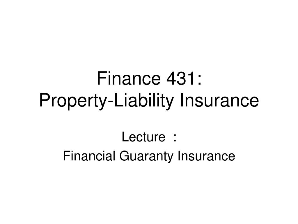 finance 431 property liability insurance l.