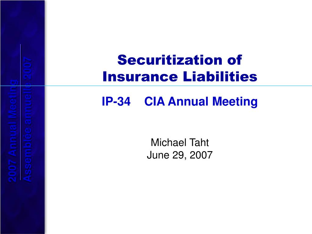 securitization of insurance liabilities l.