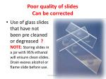 poor quality of slides can be corrected