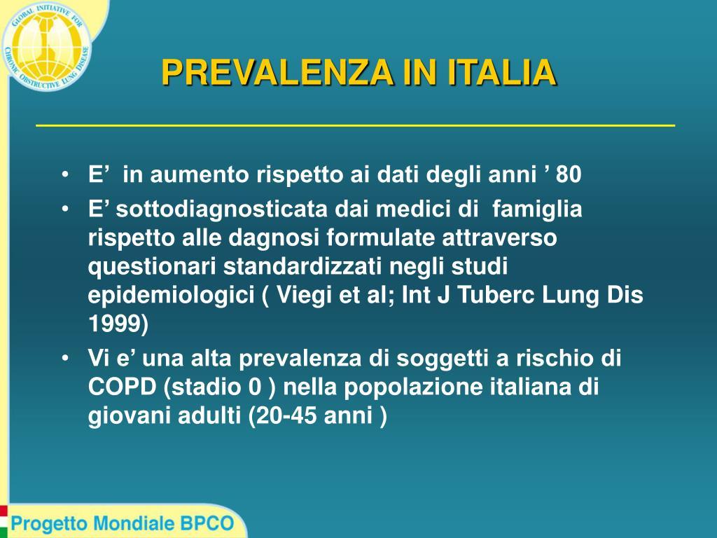 PREVALENZA IN ITALIA