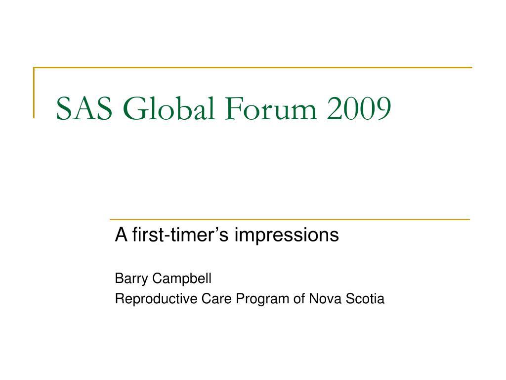 sas global forum 2009 l.