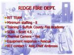 ridge fire dept