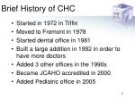 brief history of chc