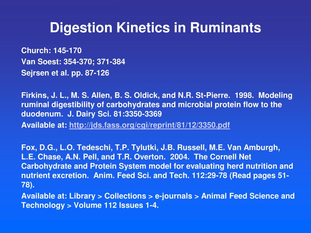 digestion kinetics in ruminants l.