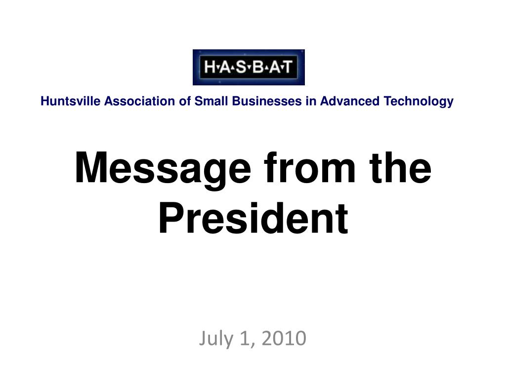 message from the president l.