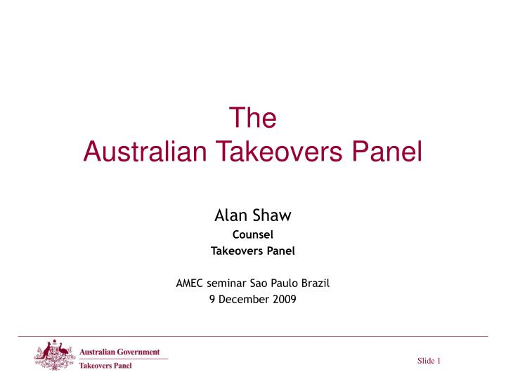 the australian takeovers panel n.