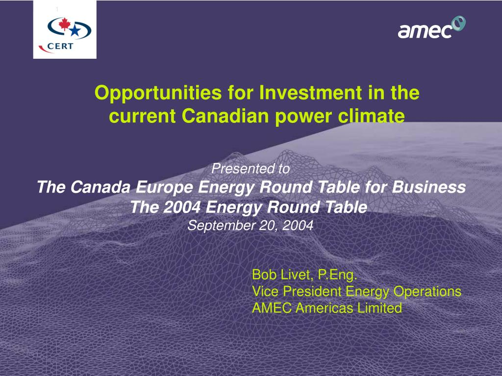 opportunities for investment in the current canadian power climate l.