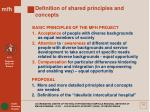 definition of shared principles and concepts