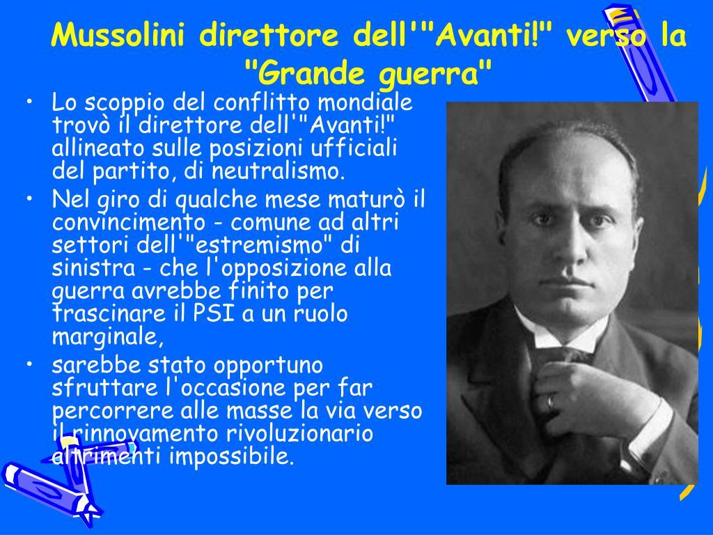 """Mussolini direttore dell'""""Avanti!"""" verso la """"Grande guerra"""""""