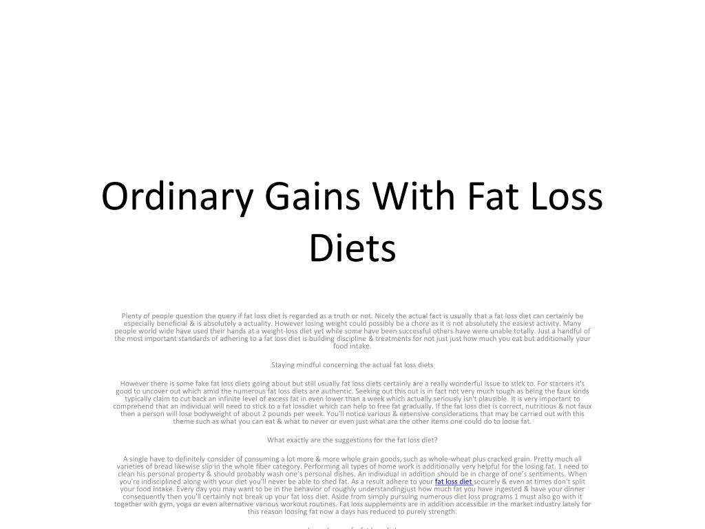 ordinary gains with fat loss diets l.