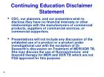 continuing education disclaimer statement