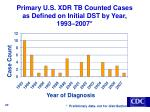 primary u s xdr tb counted cases as defined on initial dst by year 1993 2007