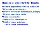 reasons for discordant dst results